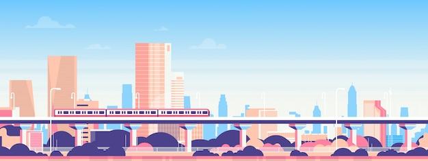 Metro Nad Miasto Drapacza Chmur Widoku Pejzażu Miejskiego Tła Linii Horyzontu Mieszkania Sztandarem Premium Wektorów