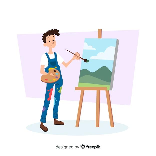 Mężczyzna Artysta Wykonuje Swoją Pracę Darmowych Wektorów
