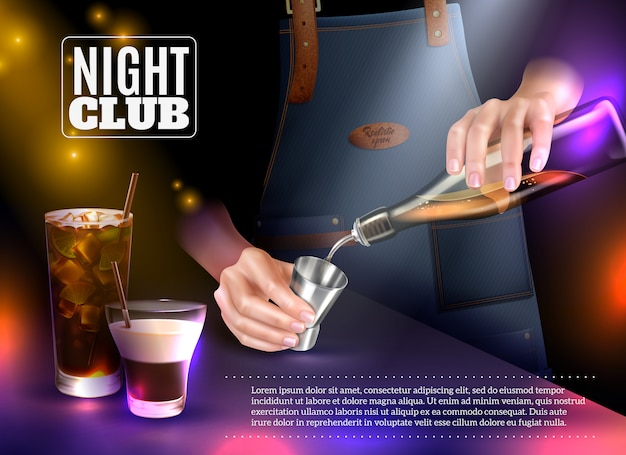 Mężczyzna Barman Dokonywanie Koktajle W Nocnym Klubie Realistyczne Darmowych Wektorów