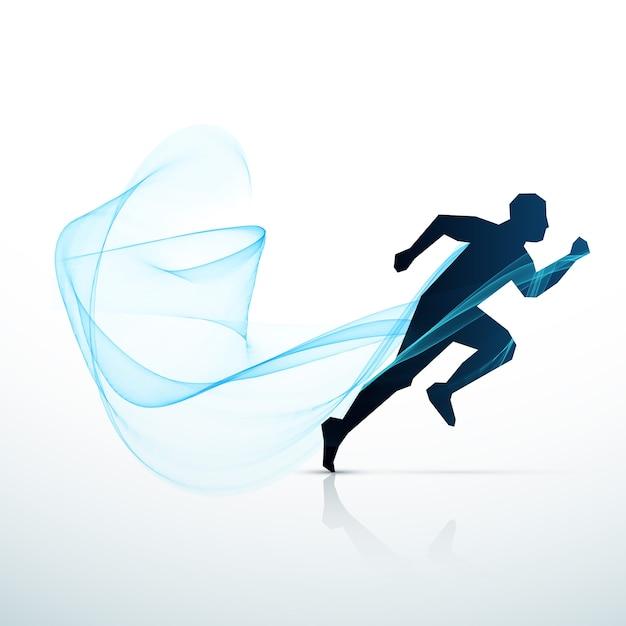 Mężczyzna Biegnie Niebieską Fala Przepływająca Darmowych Wektorów