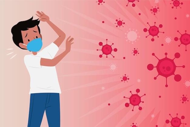 Mężczyzna Boi Się Choroby Koronawirusowej Darmowych Wektorów
