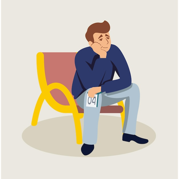 Mężczyzna Czeka W Kolejce, Zmęczony Facet Trzyma Bilet Premium Wektorów