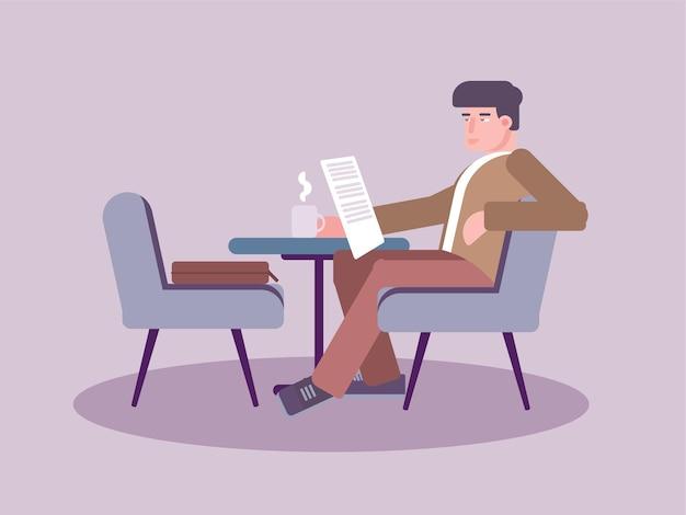 Mężczyzna Czyta Gazetę W Kawiarni, Pan Siedzi Na Krześle Czyta Gazetę Premium Wektorów