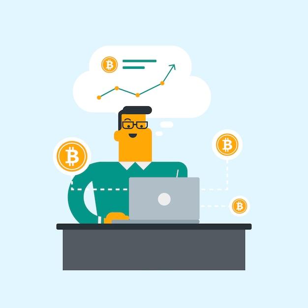 Mężczyzna Dostaje Monetę Bitcoin Z Handlu Bitcoinami. Premium Wektorów