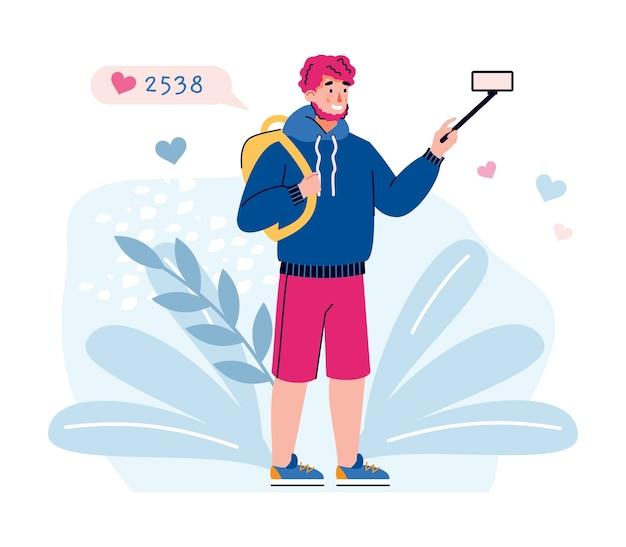 Mężczyzna Filmuje Vlog Podróżniczy Z Telefonu Komórkowego. Vlogger Uzyskuje Polubienia I Wyświetlenia Swojego Filmu Podróżniczego, Premium Wektorów