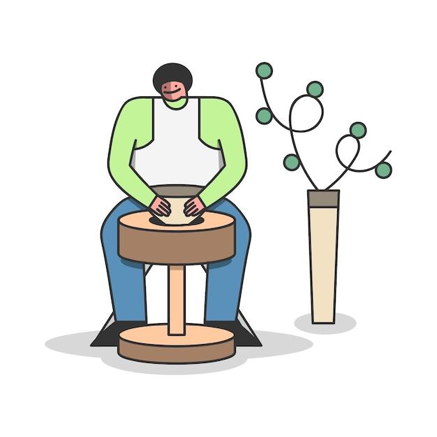 Mężczyzna Formowania Wazonu Z Gliny Na Kole Garncarskim W Warsztacie Garncarskim Premium Wektorów