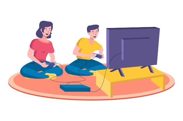 Mężczyzna I Kobieta Bawić Się Gra Wideo Ilustrację Darmowych Wektorów