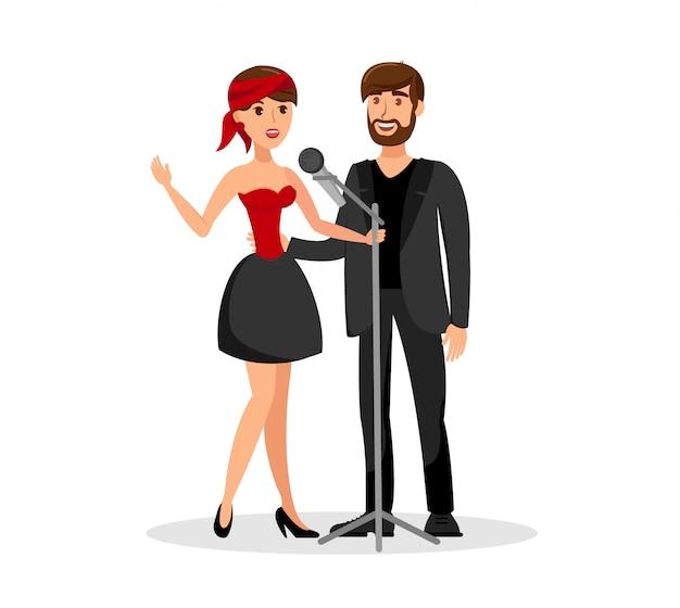 Mężczyzna I Kobieta Duet śpiewają Razem W Mikrofonie Premium Wektorów