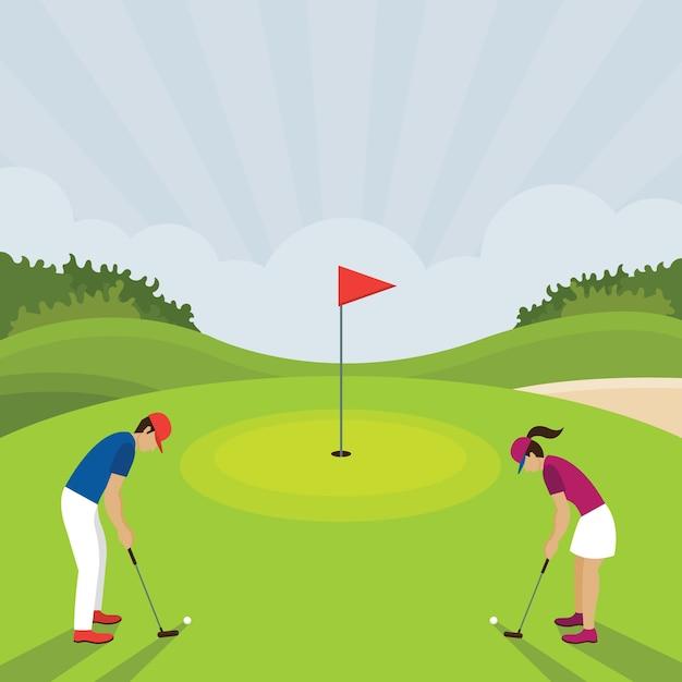 Mężczyzna I Kobieta Grają W Golfa Putt, Pole Golfowe, Na Zielono Premium Wektorów