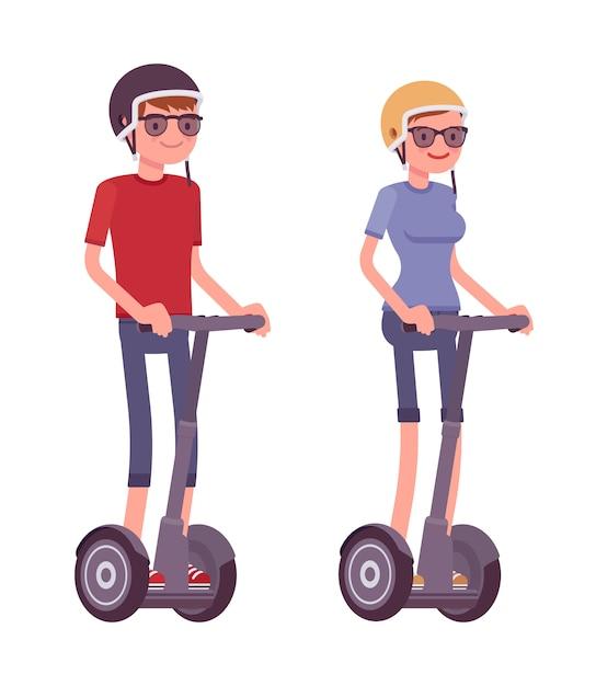 Mężczyzna I Kobieta Jedzie Czarne Skutery Elektryczne Premium Wektorów