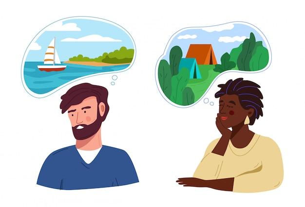Mężczyzna I Kobieta Myślą Lub Marzą O Podróżowaniu Premium Wektorów