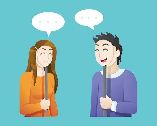 Mężczyzna I Kobieta Nosi Szczęśliwe Maski Premium Wektorów