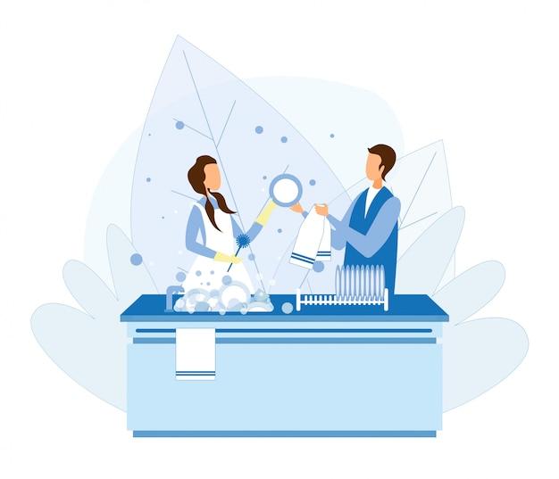 Mężczyzna i kobieta para zmywanie naczyń po gotowaniu Premium Wektorów
