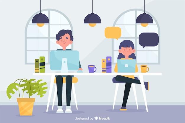 Mężczyzna I Kobieta Pracująca W Ich Pracy Darmowych Wektorów