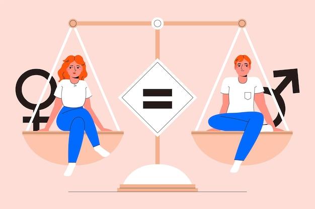 Mężczyzna I Kobieta Reprezentujących Pojęcie Równości Płci Darmowych Wektorów