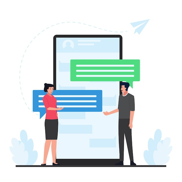 Mężczyzna I Kobieta Rozmawiają Ze Sobą Za Pomocą Dużego Bąbelkowego Czatu Przez Telefon Za Metaforą Rozmowy Online. Premium Wektorów