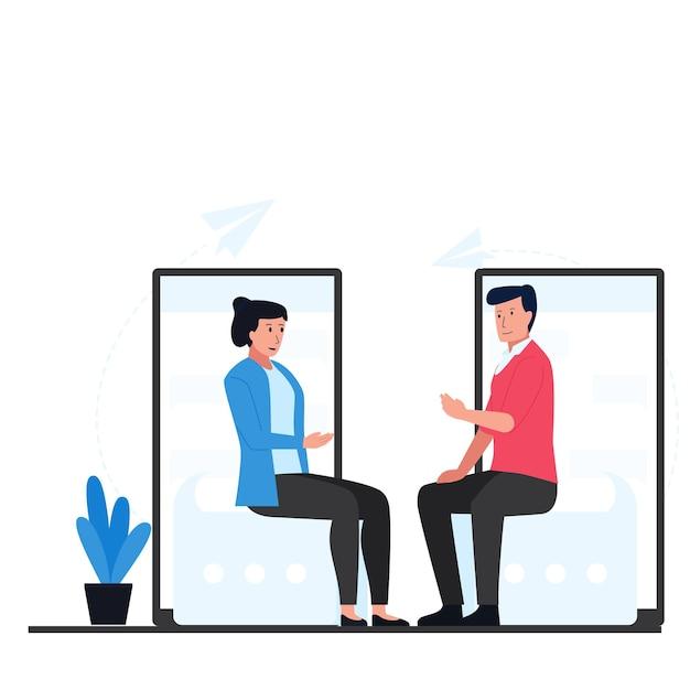 Mężczyzna I Kobieta Siedzą I Rozmawiają Z Telefonem Za Metaforą Rozmowy Online. Premium Wektorów