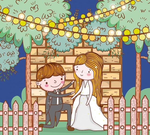 Mężczyzna i kobieta ślub z światła wiszące Premium Wektorów