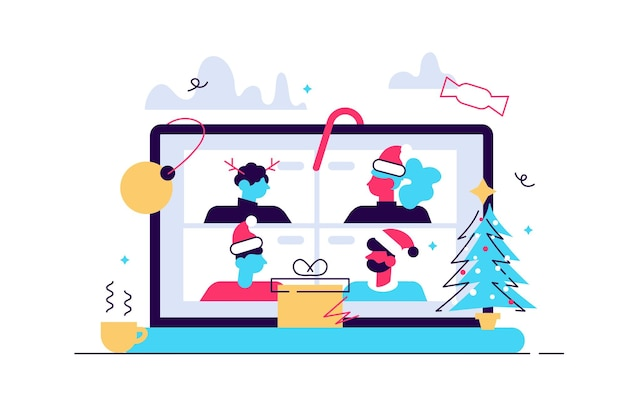 Mężczyzna I Kobieta Spotykają Się Online W Ramach Wideokonferencji Na Laptopie W Celu Wirtualnej Dyskusji Premium Wektorów