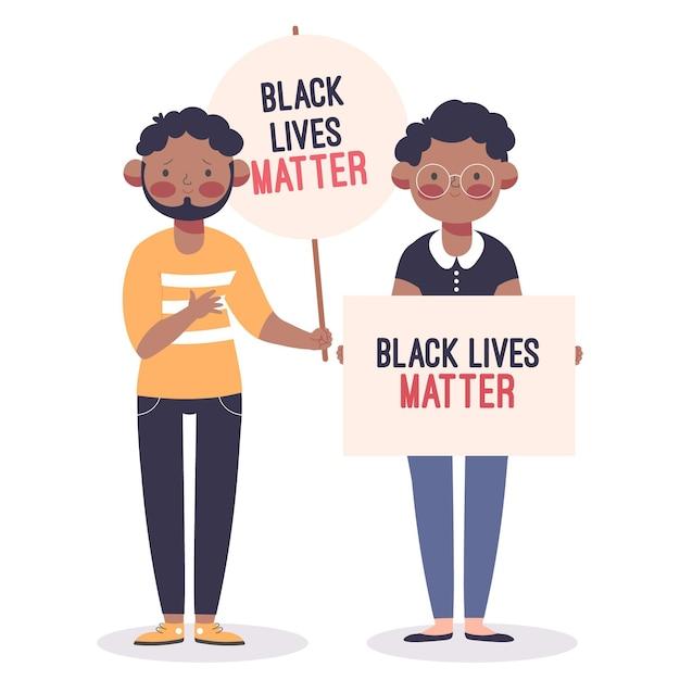 Mężczyzna I Kobieta Uczestniczący W Czarnym życiu Protestują Darmowych Wektorów