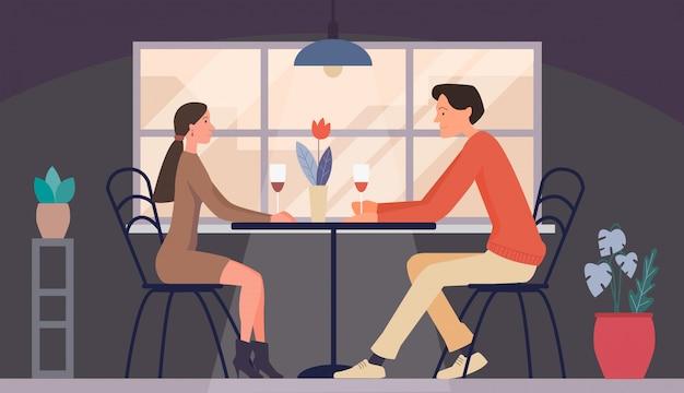 Mężczyzna i kobieta w dniu w restauracji. spotkanie pary miłości Premium Wektorów