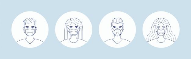 Mężczyzna I Kobieta W Maski Medyczne Ochrony Twarzy. Awatary Osób Premium Wektorów