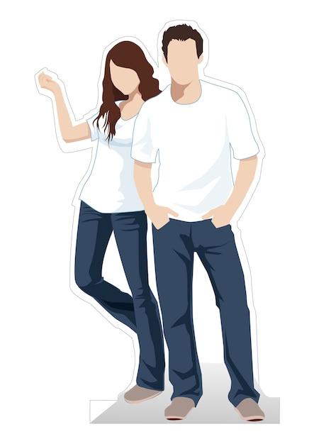 Mężczyzna I Kobiety Stoi Wektorową Ilustrację Premium Wektorów