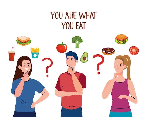 Mężczyzna I Kobiety Zastanawiają Się, Co Jeść Premium Wektorów