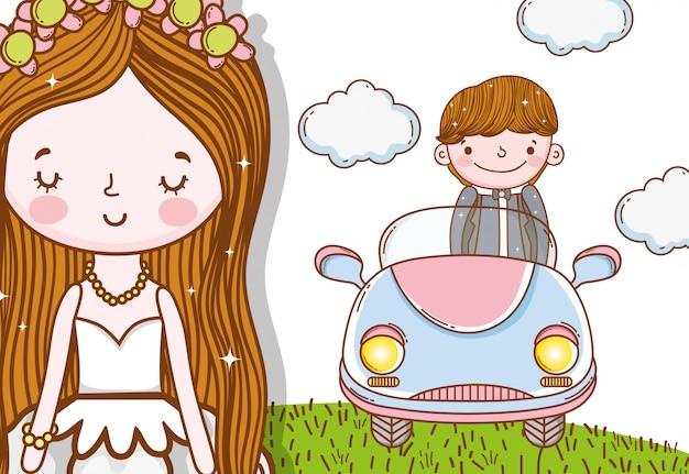 Mężczyzna i mężczyzna ślub z samochodem i chmurami Premium Wektorów