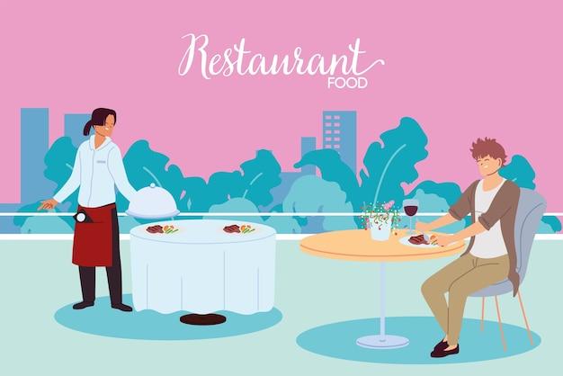 Mężczyzna Jadalnia W Restauracji I Kelner Obsługujący Projekt Ilustracji Tabeli Premium Wektorów