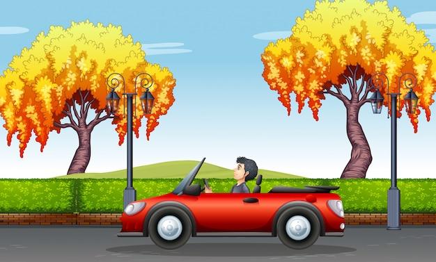 Mężczyzna jedzie kabrioletu samochód w parku Darmowych Wektorów