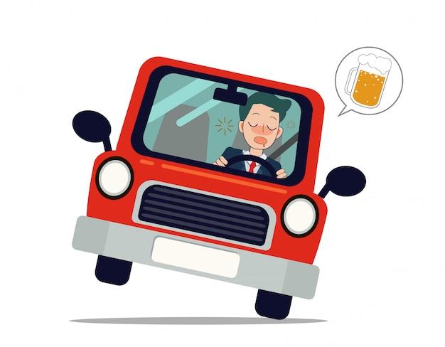 Mężczyzna jedzie samochodem z piwem Premium Wektorów
