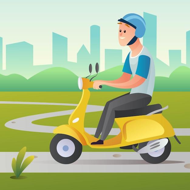 Mężczyzna Jedzie Skuterem W Ilustracji Kreskówki Premium Wektorów