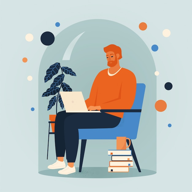Mężczyzna Jest Usytuowanym W Krześle I Pracuje Online W Domu Ilustrację. Dystans Społeczny I Izolacja Podczas Kwarantanny Wirusa Koronowego. Premium Wektorów