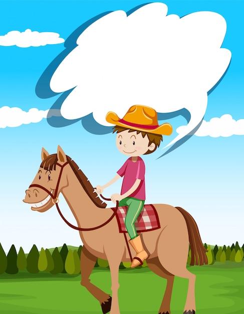 Mężczyzna Jeździecki Koń W Polu Darmowych Wektorów