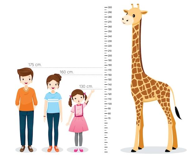Mężczyzna, Kobieta, Dziewczyna Pomiaru Wzrostu Z żyrafą Premium Wektorów