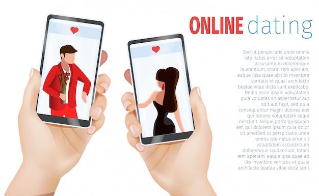 Mężczyzna kobieta hands holding telefony komórkowe randki aplikacji Premium Wektorów