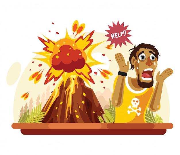 Mężczyzna krzyknął, ponieważ katastrofa wulkanu Premium Wektorów