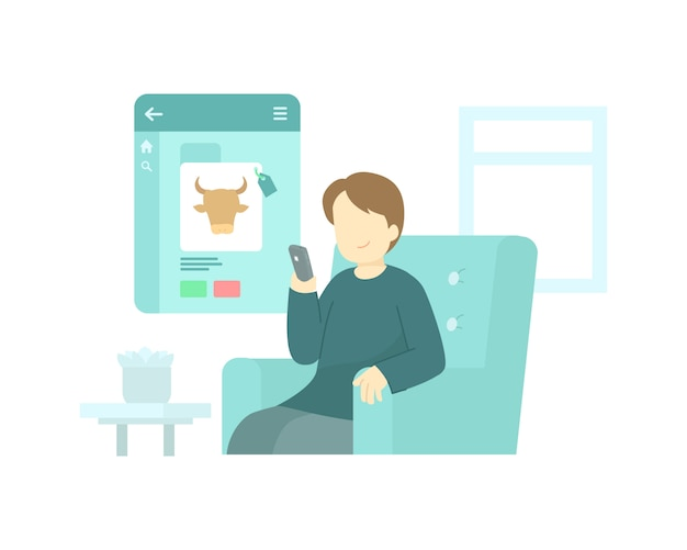 Mężczyzna Kupić Krowę Online Za Pomocą Aplikacji Na Jego Koncepcji Ilustracji Smartfona Premium Wektorów