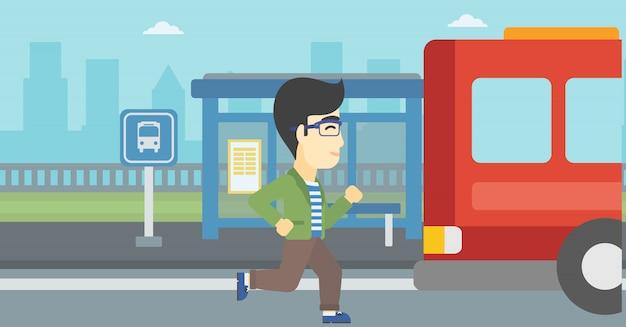 Mężczyzna Latecomer Biegnie Do Autobusu. Premium Wektorów
