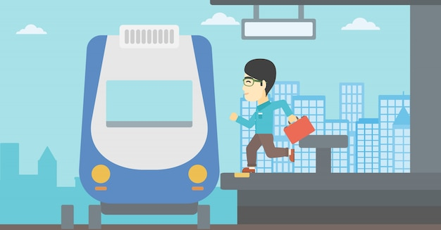 Mężczyzna Latecomer Biegnie Do Pociągu. Premium Wektorów