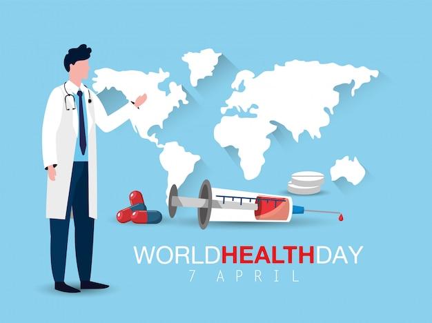 Mężczyzna lekarka z strzykawką do światowego dnia zdrowia Premium Wektorów
