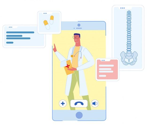 Mężczyzna lekarz na ekranie usługi online ekran smartfona Premium Wektorów