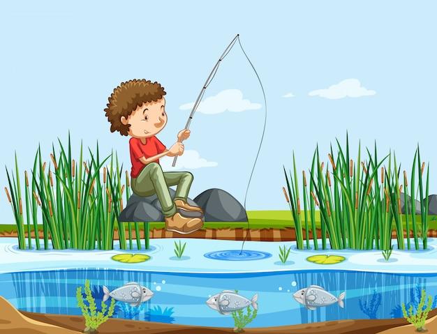 Mężczyzna łowi na jeziorze Darmowych Wektorów