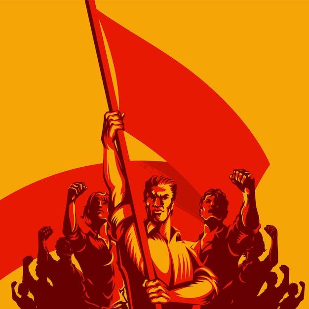 Mężczyzna mienia flaga w frontowym wielkim tłumu ilustraci ludzie Premium Wektorów