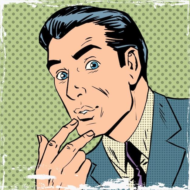 Mężczyzna Myślał O Myśleniu O Komiksach W Stylu Pop-art Halftone Premium Wektorów