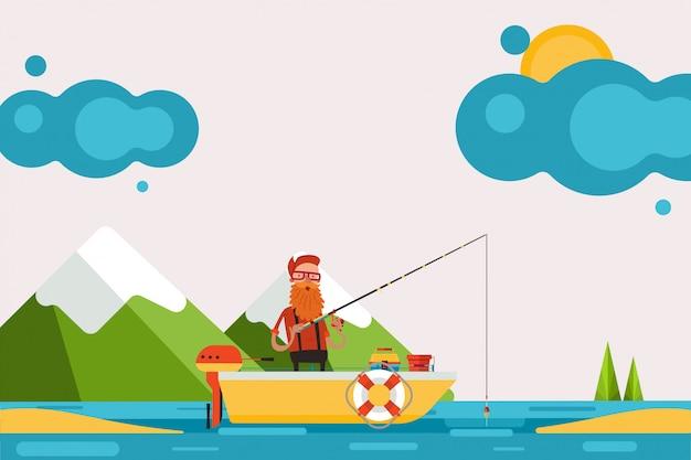 Mężczyzna Na łodzi Z Silnikiem Angażował W Połowie, Ilustracja. Postać W Malowniczym Miejscu Trzymaj Wędkę I łow Rybę Premium Wektorów