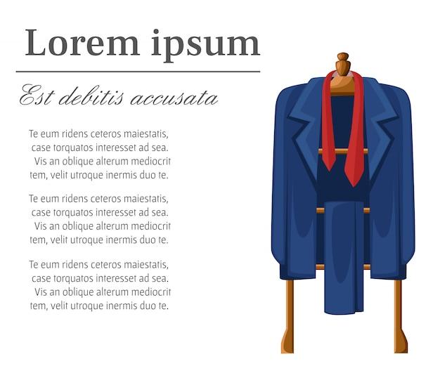 Mężczyzna Niebieski Garnitur Z Czerwonym Krawatem Na Drewniany Wieszak Ilustracja Z Miejscem Na Twój Tekst Na Białym Tle Premium Wektorów