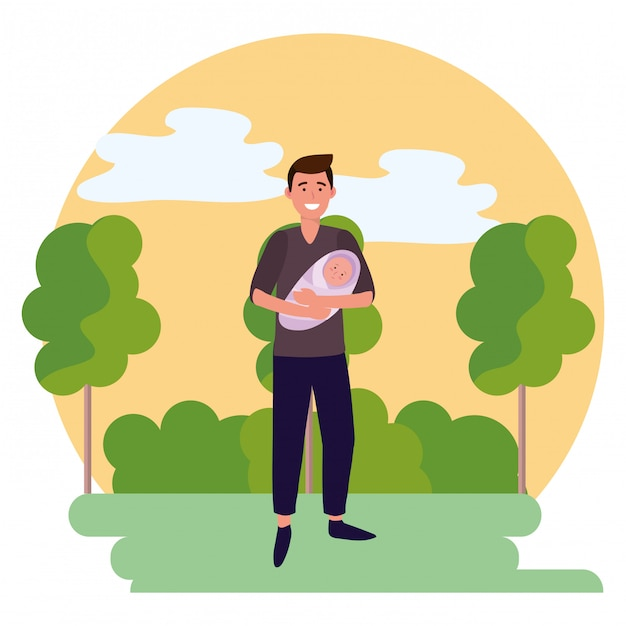 Mężczyzna niosący dziecko okrągły ikona Premium Wektorów