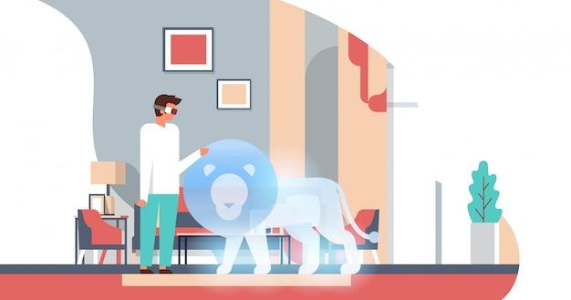Mężczyzna nosić okulary cyfrowe dotykać rzeczywistości wirtualnej lew vr wizja słuchawki innowacje Premium Wektorów